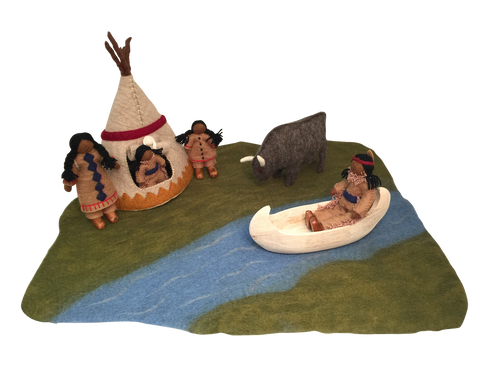 This set consists of a river mat, a family of 5 Indians including a papoose, a tepee, a wooden canoe and one bison.