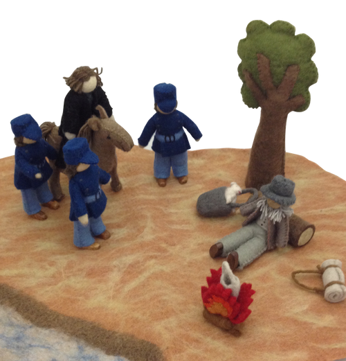 Waltzing Matilda, an Australian classic, created in a felt play set including the mat with billabong, all the main characters: the swagman, his swag, billy and tuckerbag, the fire, the jumbuck, the Coolabah tree, the squatter on his horse and the three policemen. A soft cover book with the poem and explanation is included.