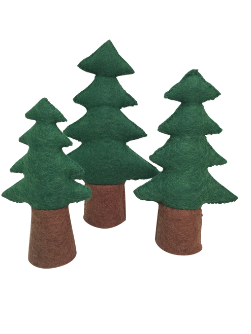 A set of 3 pine trees, with solid bases for easy standing.