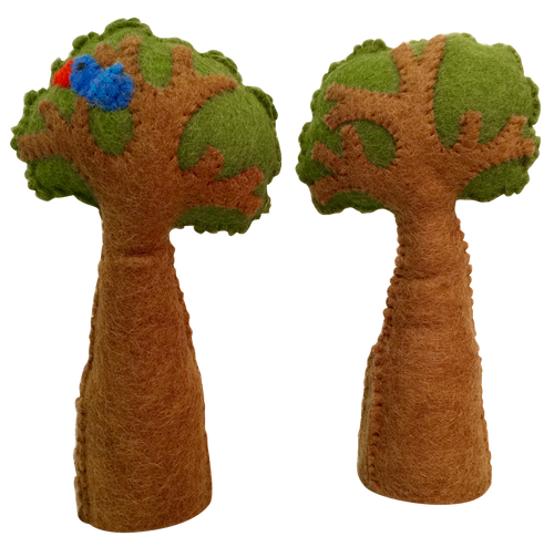 A set of 2 trees, one with a bird in it. The bases are solid for easy standing.