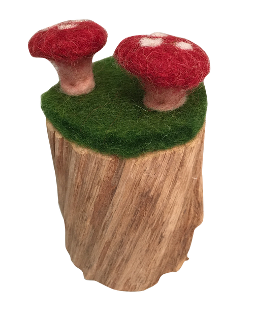 The felt and mushroom patches are glued onto a piece of natural wood, each piece is different. Three pieces in a set.
