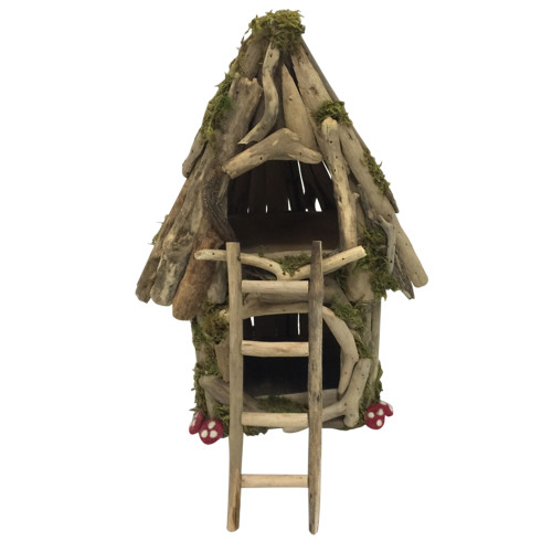 A fairy house with an attic, and a long ladder to get there. Our Woodland products are made from driftwood and decorated with dried natural moss and some little felt mushrooms.