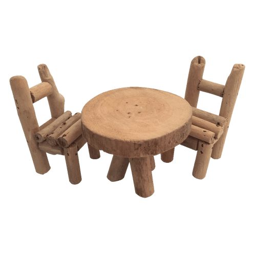 Our Woodland furniture is made from driftwood. It is not suitable for little hands under 5 years as, although the product is well made, it will not stand up to rough handling.