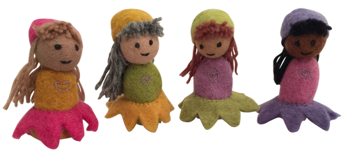 Flower girl finger puppets are boxed as a set of 4 pieces.