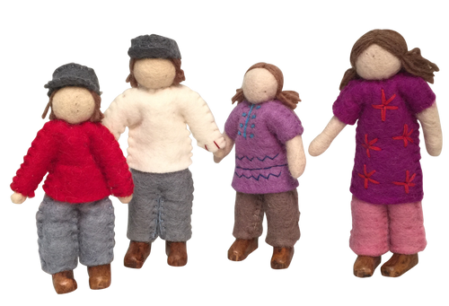 Family of 4 dolls with wooden feet.