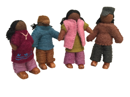 Set of 4 dolls with wooden feet.