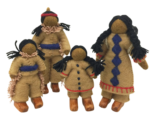 A family of 5 dolls, mother wears the papoose on her back.