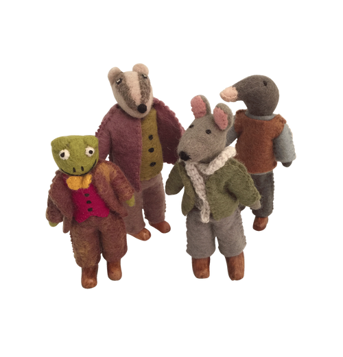 The four main characters of the Wind in the Willows story; mr. Ratty, mr. Badger, mr. Toad and mr. Mole.