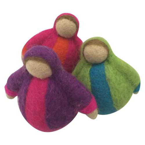 These jolly fat ladies have trouble sitting up straight! Great colours and warm character.