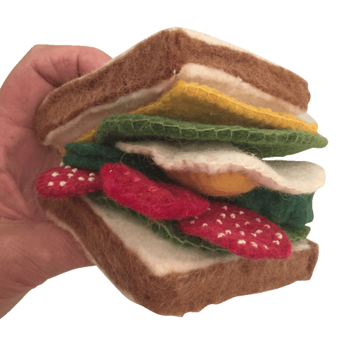 The sandwich comes boxed.