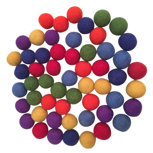 7 x 7  Rainbow coloured balls, 3.5cm make up your own game, colour/counting/multiplying etc..
