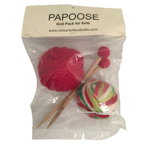 Kids Knit pack: 1 pair of hand made bamboo knitting needles and 2 balls of Thick/Thin Wool