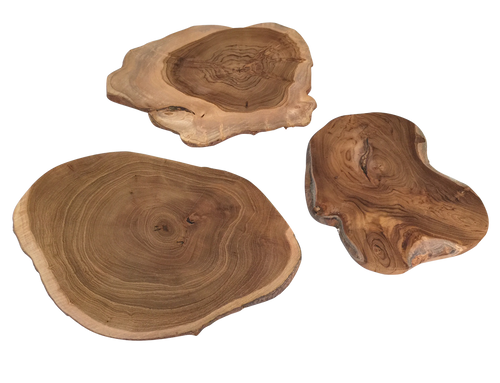 Teak slices are a natural product and will vary in shape and size. These slices can be used for lots of different purposes, as home wares and for imaginative play.