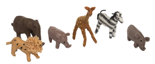 A new set of African animals made more or less in scale to each other.  There are 6 animals in the set: giraffe, hippo, zebra, lion, elephant, rhino.
