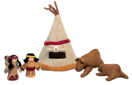 This set has a teepee, a mother and baby bear and an wooden body Indian doll family, mother carries a papoose on her back.