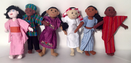 Set of 6 dolls from various ethnic backgrounds.