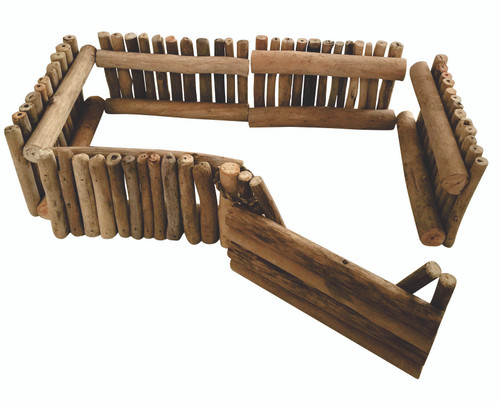 A chunky set made from driftwood; 9 pieces of fencing and 1 gate. The gate has a rope loop that connects the gate to any of the fence pieces by looping it around the first post.