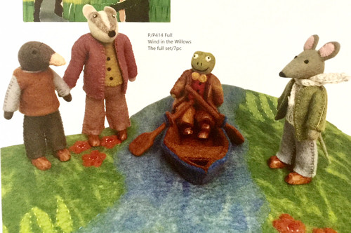 The Wind in the Willows Set includes the new book by Renske Carbone (The original is out of copy right), the four main characters, the river mat and rowing boat. The original text has been edited down to about 700 words so it's suitable for reading to little ones.