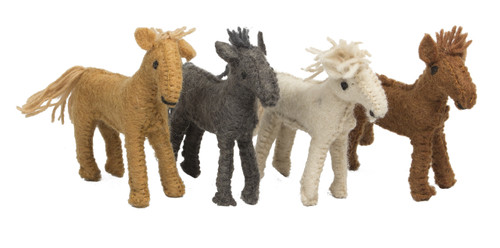 These four horses are a perfect fit with our wooden barn