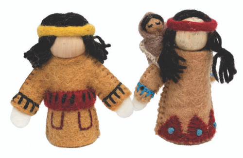 Native American Dolls with wood body. Mother carries a Papoose (!) on her back. They are about 12cm High