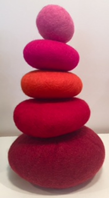 Red stack in felt.