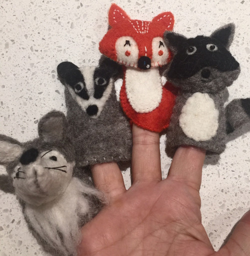 Woodland Finger Puppets, from left to right: Wolf, Badger, Fox, Raccoon
