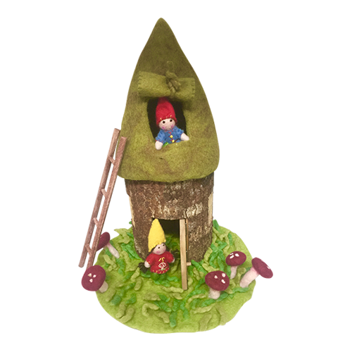 House with roof is about 40cm high. Wood diameter varies but is about 13-16cm. Set has green grassy mat with mushrooms, ladder, 2 little gnome people, the house and felt roof. Roof sits on top of the wood and is not attached.