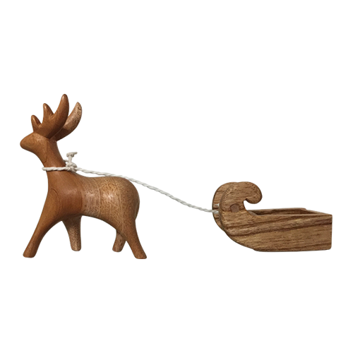 Wooden Reindeer and Sleigh set/2pc