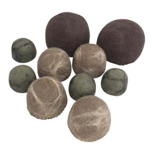 A set of 10 felt rocks in earthy tones, 2 large, 4 medium and 4 small. These are a great addition to any small world set up.