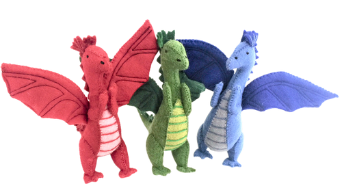The set includes a blue, green and red dragon