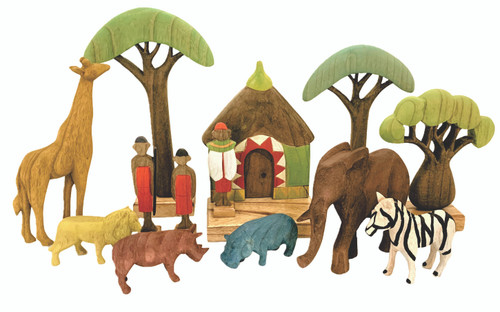 The Africa set has the following 13 items in it: (all hand painted in our Melbourne studio) Set of 3 trees, set of 6 animals, African hut and 3 warriors set