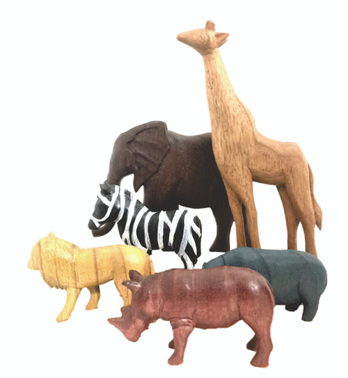 Hand painted African animals. The Giraffe is 26cm tall.