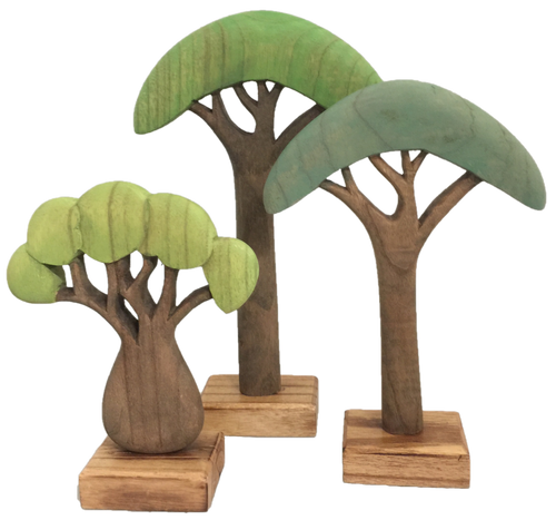 These trees are beyond beautiful! Hand painted in Melbourne with top quality German dyes, the wood grain is clearly visible and so appropriate for trees, right! The set is made up of 3 different trees, the tallest tree stands 30cm high, the shortest one is 20cm.