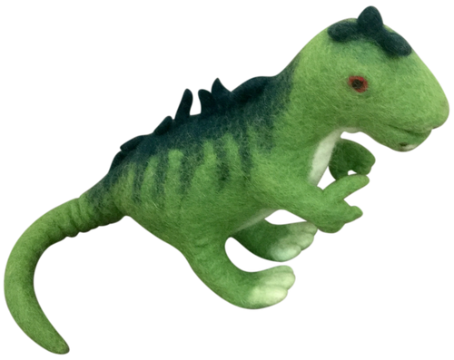Dufus the Dinosaur stands 18cm high and is about 27cm long (sitting up)