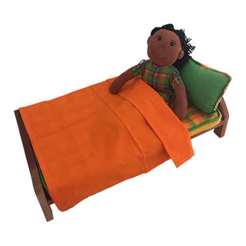 The bed is made from Suar wood and has Fair Trade cotton mattress, pillow and sheet.  Purposely kept in Unisex colours, this bed will fit our Fair Trade hand made cotton dolls.
