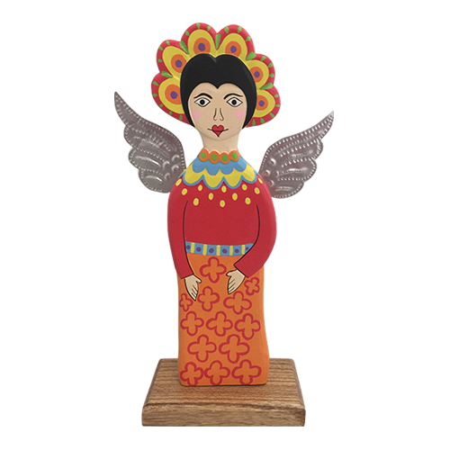 Hand painted wooden statue on a natural wood block. The Red Fairy has tin wings and stands about 30cm tall.