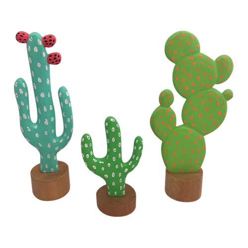 Continuing our Mexican theme, these three cacti are highly decorative, hand painted wood.