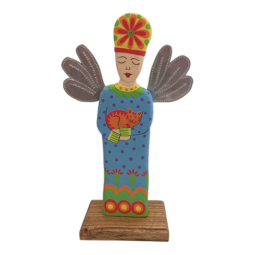 Hand Painted statue made from wood and tin wings. Stands about 30cm high.