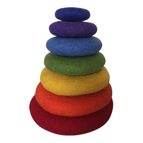 A smaller alternative for our large rainbow stacking set, this one is the same height as our other stacking sets but of course has 7 pieces. Educational and decorative at the same time!