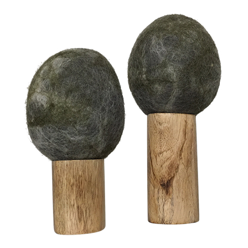 This set of two trees is made from a natural wooden base and felt tops.