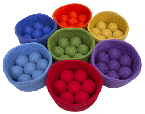 A lovely tactile set of rainbow coloured balls and matching bowls, great for children over 3.