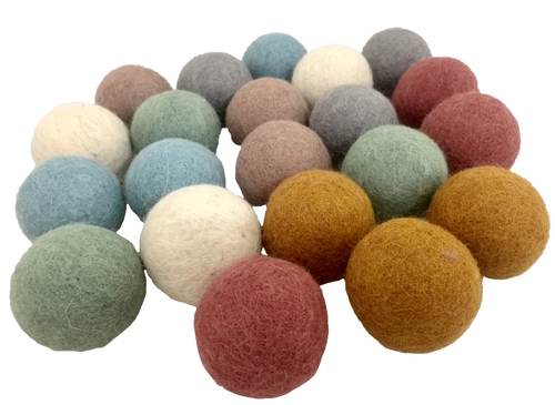 Earth Balls, 5cm Felt balls. 7 pieces of 7 colours each, 49 pieces.