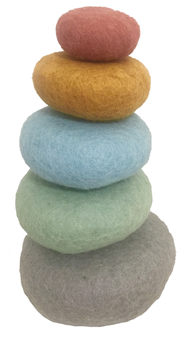 5 felt pebbles for stacking, part of our Earth range.