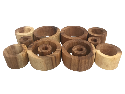 Made from sustainably sourced Suar wood, these are all natural open ended toys that are beautiful in their own right! Look at that colour and grain. Please note that of course there are going to be differences in both colour and grain due to the fact that they are made from natural wood.