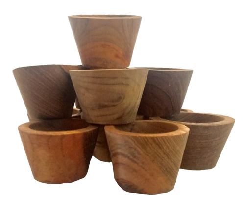 All natural wood, this set has 12 small ramekins/bowls. 4cm D x 3cm H.