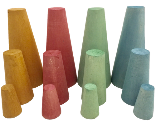 Four sets of 3 stacking cones, hand dyed wood.