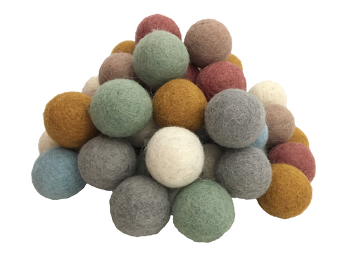 49 felt balls, each 3.5cm, 7 each of the 7 Earth colours
