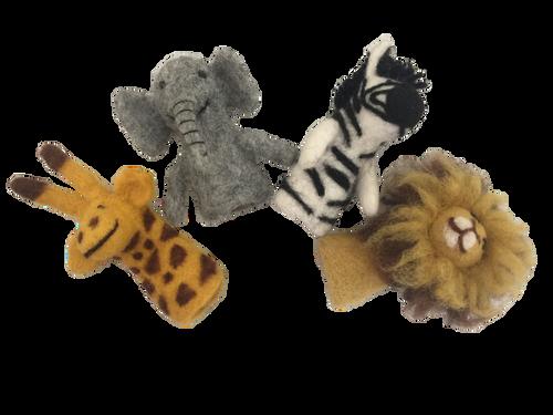 Giraffe, Elephant, Zebra and Lion Finger Puppets
