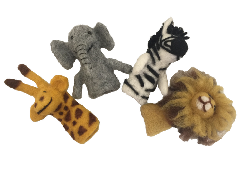 Giraffe, Elephant, Zebra and Lion Finger Puppets