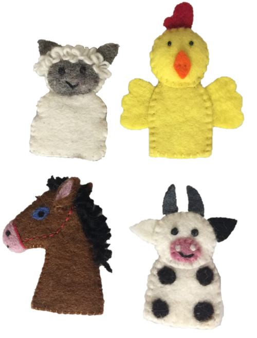 Open ended story telling with finger puppets is an engaging activity.